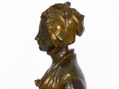 Eugene Laurent French Antique Bronze Sculpture Bust of Girl by Eugene Laurent Susse Freres - 1119697