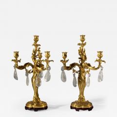 Eugene Leli vre Casted Louis XV French Rococo Style Ormolu Four Light Candelabra by E Lelievre - 2036213