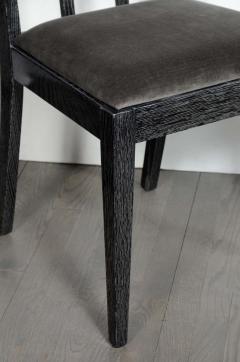 Eugene Schoen Set of Six Mid Century Modern Silver Cerused Oak Dining Chairs by Eugene Schoen - 2004899