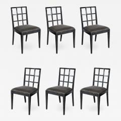 Eugene Schoen Set of Six Mid Century Modern Silver Cerused Oak Dining Chairs by Eugene Schoen - 2010073