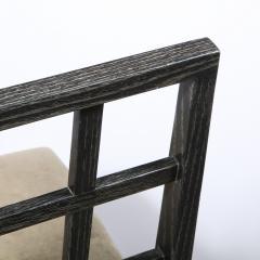 Eugene Schoen Set of Six Mid Century Modern Silver Cerused Oak Dining Chairs by Eugene Schoen - 2050189