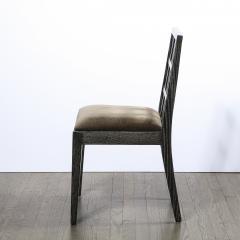 Eugene Schoen Set of Six Mid Century Modern Silver Cerused Oak Dining Chairs by Eugene Schoen - 2050190