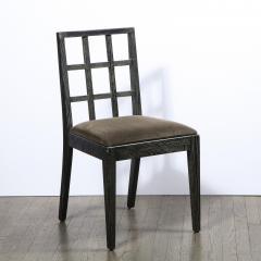 Eugene Schoen Set of Six Mid Century Modern Silver Cerused Oak Dining Chairs by Eugene Schoen - 2050258