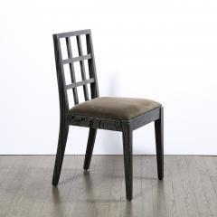 Eugene Schoen Set of Six Mid Century Modern Silver Cerused Oak Dining Chairs by Eugene Schoen - 2050267