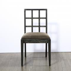 Eugene Schoen Set of Six Mid Century Modern Silver Cerused Oak Dining Chairs by Eugene Schoen - 2050302