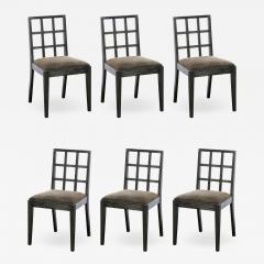 Eugene Schoen Set of Six Mid Century Modern Silver Cerused Oak Dining Chairs by Eugene Schoen - 2050780