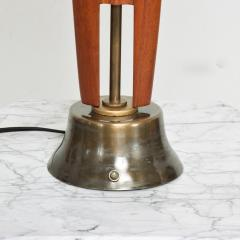 Eugenio Escudero Midcentury Mexico Sculptural Airy Table Lamp Mahogany Wood Patinated Brass 1950s - 1600863