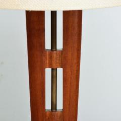 Eugenio Escudero Midcentury Mexico Sculptural Airy Table Lamp Mahogany Wood Patinated Brass 1950s - 1600864