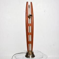 Eugenio Escudero Midcentury Mexico Sculptural Airy Table Lamp Mahogany Wood Patinated Brass 1950s - 1600866