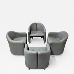 Eugenio Gerli Set of Four Eugenio Gerli for Tecno Leather Chairs - 1492737