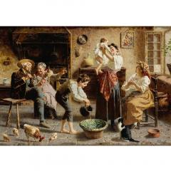 Eugenio Zampighi A Fine Italian Painting of the Baby s Bath by Eugenio Zampighi - 1434526