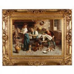 Eugenio Zampighi A Fine Zampighi Oil Painting of a Tavern Scene - 1471645