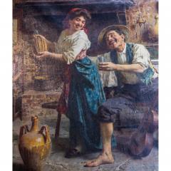 Eugenio Zampighi A Fine Zampighi Oil Painting of a Tavern Scene - 1471646