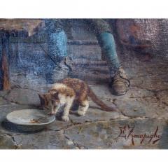 Eugenio Zampighi A Fine Zampighi Oil Painting of a Tavern Scene - 1471647