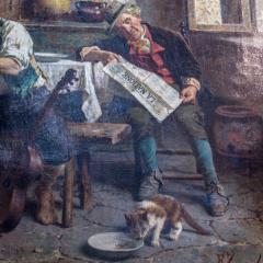 Eugenio Zampighi A Fine Zampighi Oil Painting of a Tavern Scene - 1471648