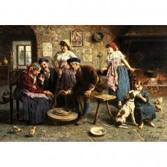 Eugenio Zampighi Fine Painting depicting an Italian Family - 1441274