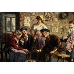 Eugenio Zampighi Fine Painting depicting an Italian Family - 1441276