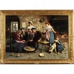 Eugenio Zampighi Fine Painting depicting an Italian Family - 1441277