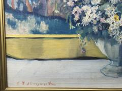 Everett Lloyd Bryant Snapdragons and Carnation with Japanese Tapestry in the Background - 1970796