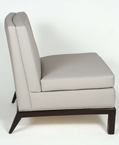 Everett Sebring Pair of Custom Leather Upholstered Slipper Chairs by Everett Sebring - 426387