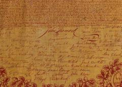 Exceptional 1821 Printed of the Declaration of Independence on Cloth - 638134