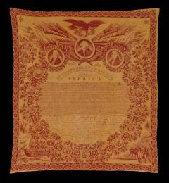 Exceptional 1821 Printed of the Declaration of Independence on Cloth - 638136