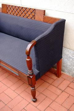 Exceptional Carved and Painted Neoclassical Country Settee - 407506