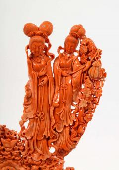 Exceptional Chinese Carved Coral Figural Group of Female Immortals Qing Dynasty - 2137951
