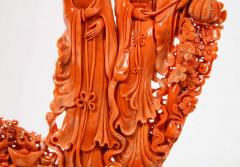 Exceptional Chinese Carved Coral Figural Group of Female Immortals Qing Dynasty - 2137956