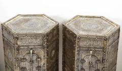 Exceptional Pair of Islamic Mamluk Revival Silver Inlaid Quran Side Tables - 2140779