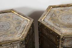 Exceptional Pair of Islamic Mamluk Revival Silver Inlaid Quran Side Tables - 2140780