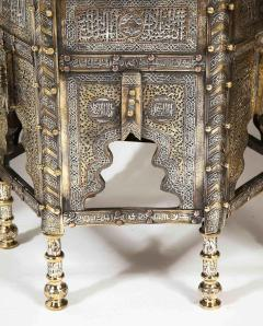 Exceptional Pair of Islamic Mamluk Revival Silver Inlaid Quran Side Tables - 2140782