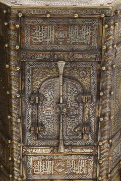 Exceptional Pair of Islamic Mamluk Revival Silver Inlaid Quran Side Tables - 2140783