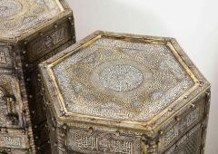 Exceptional Pair of Islamic Mamluk Revival Silver Inlaid Quran Side Tables - 2140784