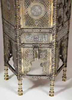 Exceptional Pair of Islamic Mamluk Revival Silver Inlaid Quran Side Tables - 2140787