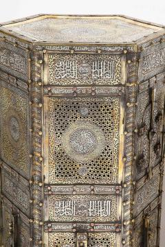 Exceptional Pair of Islamic Mamluk Revival Silver Inlaid Quran Side Tables - 2140788
