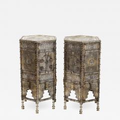 Exceptional Pair of Islamic Mamluk Revival Silver Inlaid Quran Side Tables - 2144933