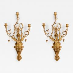 Exceptional Pair of Italian Empire Giltwood Three Light Wall Appliques - 410140