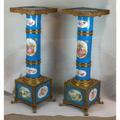 Exceptional Pair of Turquoise Ground S vres Porcelain and Gilt Bronze Pedestals - 1646451