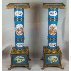 Exceptional Pair of Turquoise Ground S vres Porcelain and Gilt Bronze Pedestals - 1646452