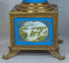 Exceptional Pair of Turquoise Ground S vres Porcelain and Gilt Bronze Pedestals - 1646457