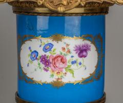 Exceptional Pair of Turquoise Ground S vres Porcelain and Gilt Bronze Pedestals - 1646471