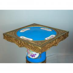 Exceptional Pair of Turquoise Ground S vres Porcelain and Gilt Bronze Pedestals - 1646473