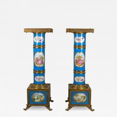Exceptional Pair of Turquoise Ground S vres Porcelain and Gilt Bronze Pedestals - 1648083
