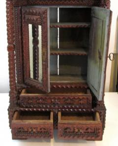 Exceptional Tramp Art Mirrored Wall Cabinet - 366880