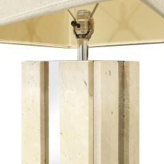 Exceptional Traventine Table Lamp With Chrome Accents 1960s - 1061170