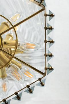 Extra Large Sculptural Lucite and Brass Chandelier c 1970s - 1088908