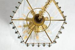 Extra Large Sculptural Lucite and Brass Chandelier c 1970s - 1088912