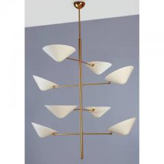 Extra Long Polished Brass and Enameled Metal Chandelier - 293886