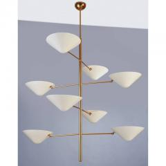 Extra Long Polished Brass and Enameled Metal Chandelier - 293888